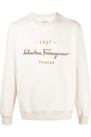 Salvatore Ferragamo Men Sweatshirts - Embroidered d logo sweatshirt - Neutrals