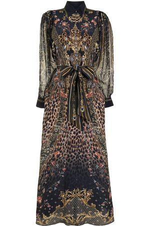 Camilla Abingdon Palace curved-collar silk shirtdress