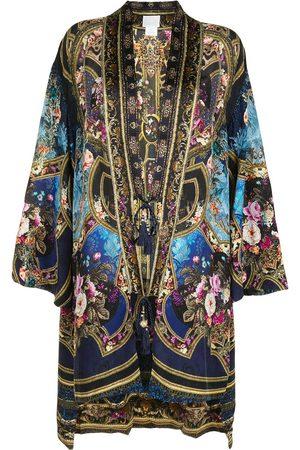 Camilla Embroidered silk cardi-coat - Multicolour