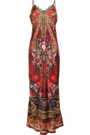 Camilla Graphic-print silk slip maxi dress