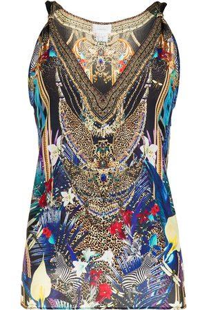 Camilla Embroidered silk top - Multicolour