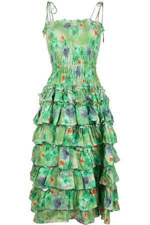 Bambah Women Printed Dresses - Floral-print ruffled linen dress