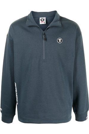 AAPE BY A BATHING APE Men Sweatshirts - Logo-plaque quarter zip sweater