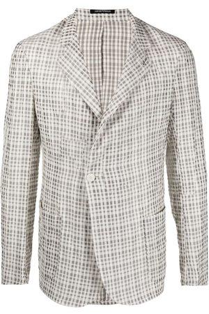 Emporio Armani Textured-plaid jacket - Neutrals