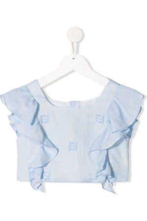Fendi Ruffled embroidered monogram blouse