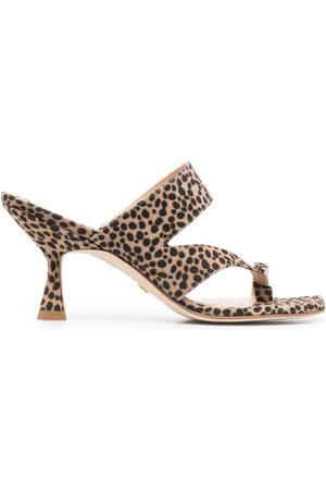 Stuart Weitzman Leopard-print leather sandals - Neutrals