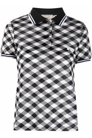 Maison Kitsuné Diagonal-check fitted polo shirt