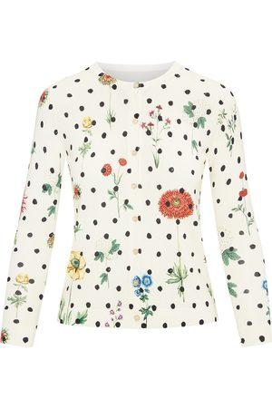 Oscar de la Renta Floral-print knitted cardigan - Neutrals