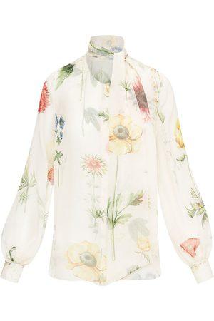Oscar de la Renta Women Blouses - Floral-print pussy-bow silk blouse