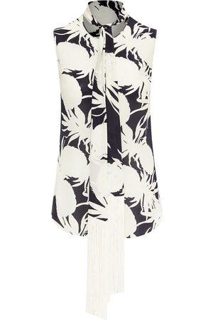 Oscar de la Renta Women Blouses - Pineapple-print fringed blouse