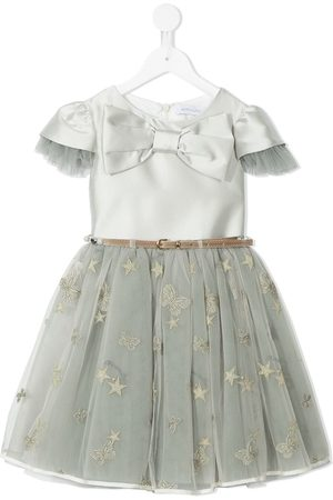 MONNALISA Girls Dresses - Tulle trim bow-front party dress - Grey