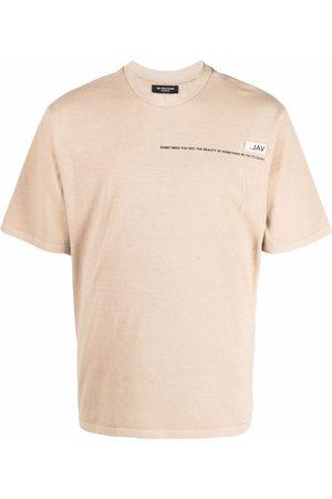 VAL KRISTOPHER Logo-print short-sleeved T-shirt - Neutrals