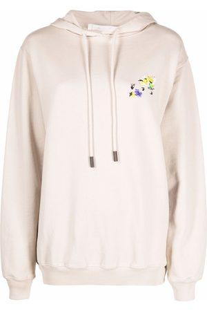 OFF-WHITE Women Hoodies - Floral Arrow cotton hoodie - Grey
