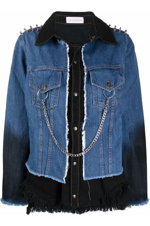 FAITH CONNEXION Chain-embellished panelled denim jacket