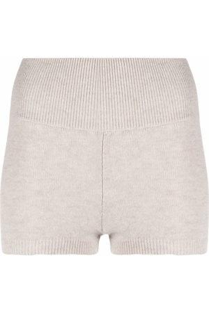 AMI AMALIA Women Shorts - Knitted wool biker shorts - Neutrals