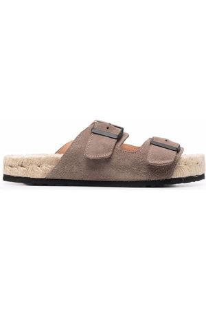 MANEBI Women Sandals - Hamptons double-strap suede sandals - Neutrals