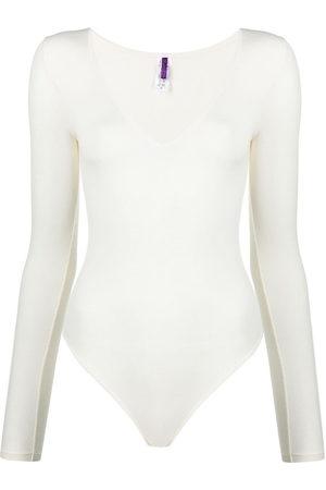 MAISON CLOSE Women Lingerie Bodies - Long-sleeved modal bodysuit - Neutrals
