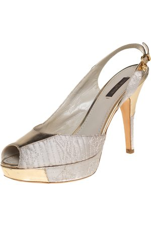 LOUIS VUITTON Grey Satin And Metallic Gold Leather Motard Piccadilly Peep Toe Platform Slingback Sandals Size 38