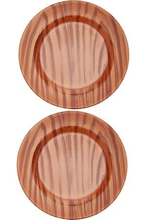 Moda Domus Set-Of-Two Wood-Print Ceramic Dessert Plates - Color: - Material: Ceramic - Moda Operandi