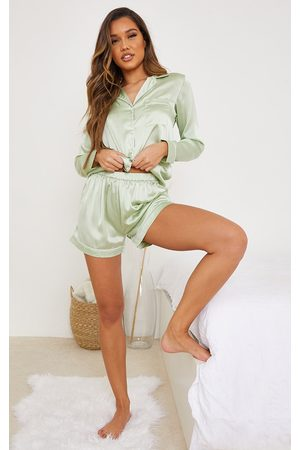 PrettyLittleThing Sage Mix And Match Piped Detail Satin PJ Shorts