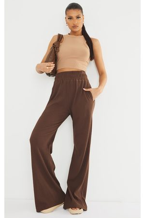 PRETTYLITTLETHING Women Straight Leg Pants - Chocolate Heavy Rib High Waisted Straight Leg Pants