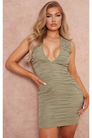PRETTYLITTLETHING Women Bodycon Dresses - Sage Woven Ruched Sleeveless Plunge Bodycon Dress