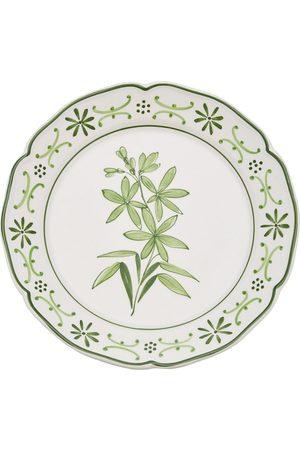 Moda Domus Il Fiore by Moda Domus; Set-Of-Two Hand-painted Ceramic Dessert Plates - Color: /green - Material: Ceramic - Moda