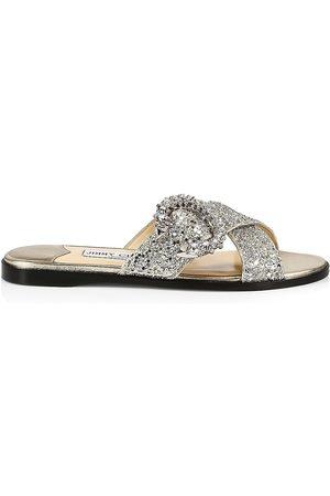 Jimmy Choo Women's Marle Crystal-Embellished Glitter Leather Slides - Platinum Crystal - Size 9 Sandals