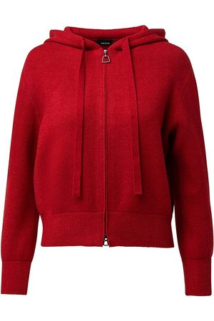 AKRIS Women's Cashmere Piqué Knit Hoodie - Cadmium - Size 14