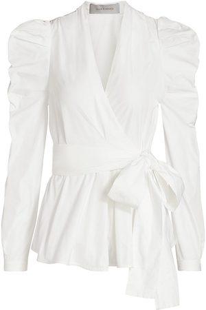 Silvia Tcherassi Women Wrap tops - Women's Agnes Puff Sleeve Wrap Top - - Size Large