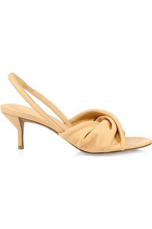 3.1 Phillip Lim Women Heeled Sandals - Women's Brigitte Twisted Leather Slingback Kitten Heel Sandals - Almond - Size 8.5
