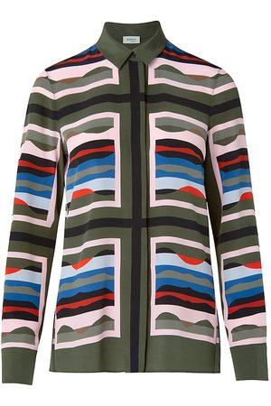 AKRIS Women's Mulberry Silk Button-Up Blouse - Size 16