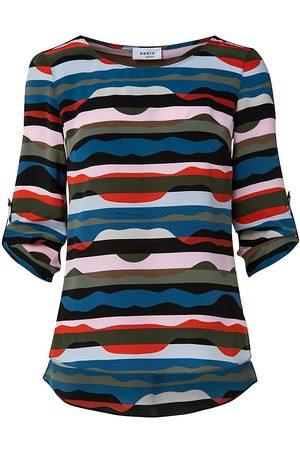 AKRIS Women's Mulberry Silk Roll-Tab Shirt - Size 18