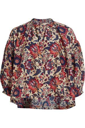 CHUFY Women Blouses - Women's Memories Of Romania Luiza Floral Puff-Sleeve Blouse - Nicu - Size Large