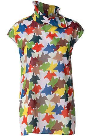 AKRIS Women Blouses - Women's Kinderstern Print Cap-Sleeve Tunic Blouse - Size 16