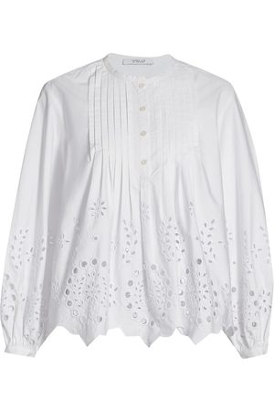 Derek Lam Women's Calvert Eyelet Cotton Blouse - Optic - Size 14