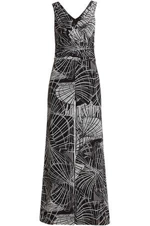 Teri Jon by Rickie Freeman Women Printed Dresses - Women's Geometric Print Sleeveless Jumpsuit - - Size 10