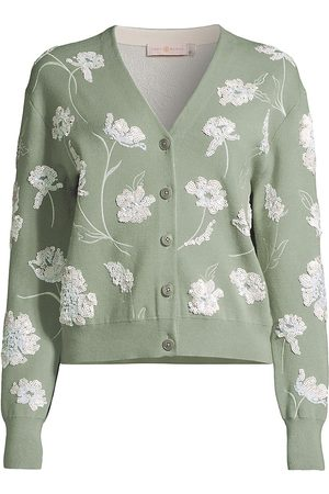 Tory Burch Women's Floral Embellished Double-Faced Cardigan - Jade Stone - Size XL