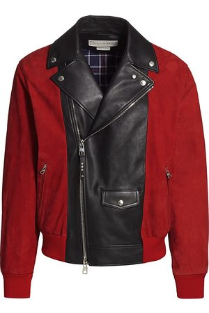 Alexander McQueen Men Leather Jackets - Men's Spliced Leather-Suede Bomber Jacket - Lust - Size 40