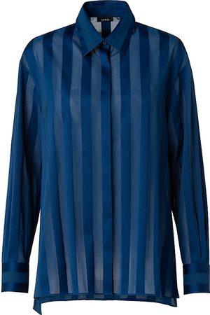 AKRIS Women's Oxford Stripe Semi-Transparent Shirt - Deep - Size 12