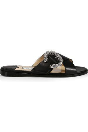 Jimmy Choo Women's Marle Crystal-Embellished Leather Slides - - Size 9 Sandals