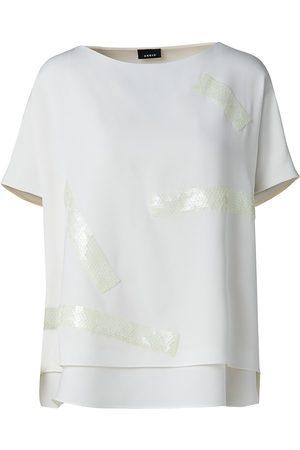 AKRIS Women's Fluorescent Sequin Tape Silk Crepe T-Shirt - Ecru - Size 12