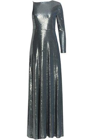 Halston Heritage Women Evening dresses - Women's Emerson Sequin One-Sleeve Gown - Steel - Size 8