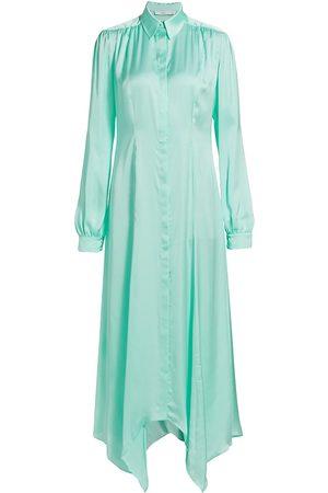Safiyaa Women's Faya Silk Satin Scarf Hem Shirt Dress - Turquoise - Size 6