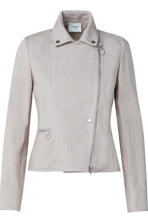 AKRIS Women's Washed Biker Jacket - Oat - Size 8