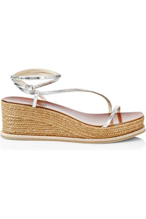 Jimmy Choo Women's Drive Metallic Satin & Leather Espadrille Wedge Sandals - - Size 11