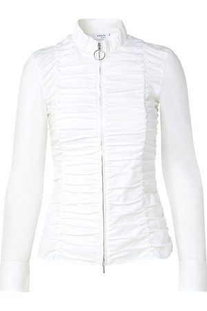 AKRIS Women's Smocked Zip-Up Top - - Size 16