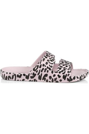 Freedom Moses Women's Leopard-Print Moses 2-Strap Slides - Size 8 Sandals