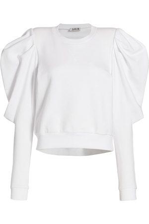 AMUR Women's Puff-Sleeve Cropped Sweatshirt - - Size Small