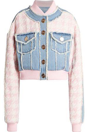 Balmain Women's Cropped Denim & Tweed Jacket - Pale - Size 4